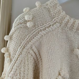 Vintage Sweaters - Vintage Cream Handknit 100% Pure New Wool SZ L